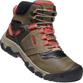 Keen Ridge Flex Mid WP Shoes Men, olive/rouge